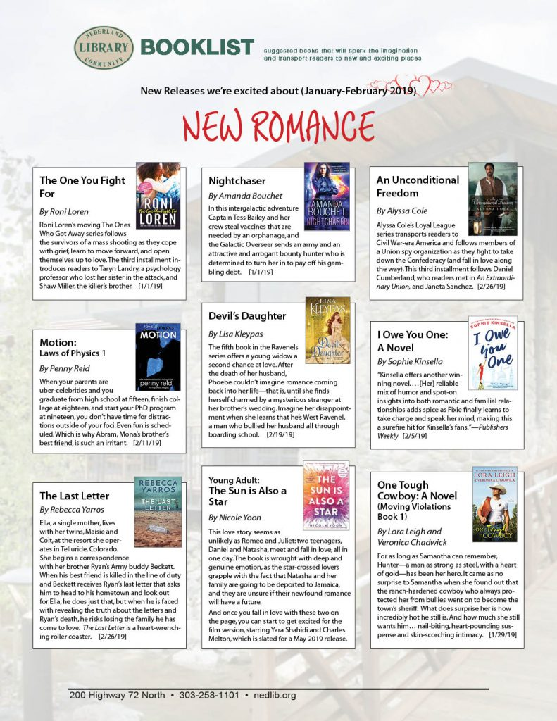 ROMANCE- New titles for January-February 2019 that we're